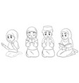 set different praying position arab muslim girl vector image vector image