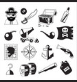 set of pirate and sea elements in black and white vector image vector image