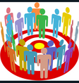 targeted marketing people group on target vector image vector image