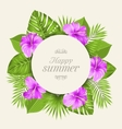 vintage card with purple hibiscus flowers vector image vector image