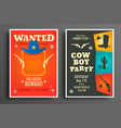 wanted flat western poster template vector image