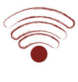 wifi signal icon in dark red blurred silhouette vector image vector image