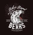 wild bear roaring biker club t-shirt print vector image vector image