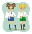 young schoolgirls showing exam test results vector image