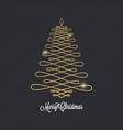 christmas tree golden design on black background vector image