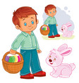 a little boy with basket vector image
