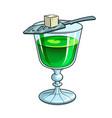 absinthe green alcohol drink pop art vector image vector image