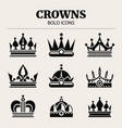 black crown bold icons set vector image vector image
