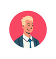 blond businessman avatar man face profile icon vector image