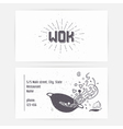 Business card with wok noodles Hand drawn logo vector image vector image