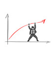 businessman raising the red arrow up with two vector image vector image
