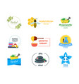 cartoon alternative medicine badges or labels set vector image