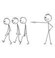 cartoon boss or businessman firing out or vector image
