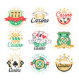 casino premium logo design set of colorful vector image