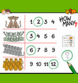 cats counting game cartoon vector image vector image
