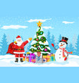 christmas background with forest vector image vector image