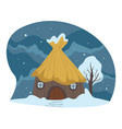 countryside winter landscape house covered with vector image