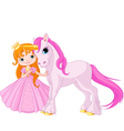 Cute Princess and Unicorn vector image vector image