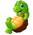 Cute turtle cartoon posing vector image vector image