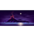 deserted island with active volcano cartoon vector image vector image