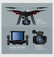 drone with vdo camera and controller vector image vector image