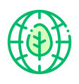 earth planet leaves tree thin line icon vector image