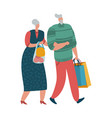 elderly couple old man and woman walking vector image