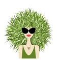 Female face with green grass hairstyle for your vector image vector image