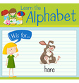 Flashcard letter H is for hare vector image