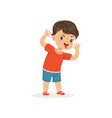 funny bully boy grimacing hoodlum cheerful little vector image vector image