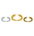 golden silver and bronze laurel wreaths vector image vector image