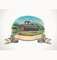graphical a countryside landscape with farm vector image vector image