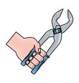 hand with plier saw vector image vector image