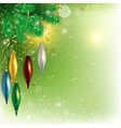 hanging colored toys on the twig with flying snow vector image vector image