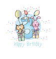 happy birthday with candle and cute animals vector image