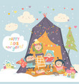 happy children celebrating christmas vector image vector image