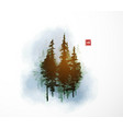 high green pine trees in blue fog traditional vector image vector image