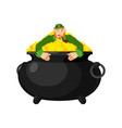 leprechaun in pot gold dwarf with red beard and vector image vector image