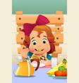 little girl eating salad vegetables vector image