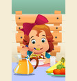 little girl eating salad vegetables vector image vector image