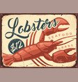 lobsters and crabs vintage seafood restaurant sign vector image vector image