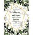 luxury marble wedding invitation card with olive vector image