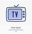 old-fashioned tv thin line icon vector image vector image