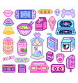 pixel art 8 bit objects retro digital game assets vector image vector image