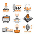 radio logo podcast towers wireless badges radio vector image vector image