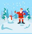 santa claus with snowman vector image vector image