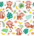 seamless pattern with baby monkey banana vector image vector image