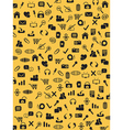 Seamless web icons pattern on yellow background vector image vector image