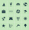 season icons set collection of star bead dinghy vector image vector image