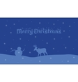 Silhouette of deer and snowman landscape vector image vector image